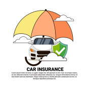 Car Insurance Safety Protection Concept With Vehicle Under Umbrella Icon