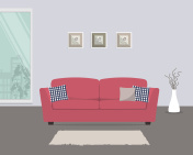 Living room with red sofa and pillows