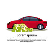 Car And Money Banner With Copy Space Buy Auto Or Insurance Service Concept