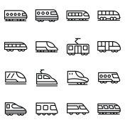 Bullet Train Line Vector Icons Set