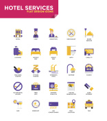 Modern material Flat design icons - Hotel Services