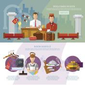 Hotel service infographics hotel staff