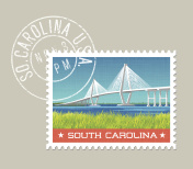 Vector illustration of coastal landscape with bridge. South Carolina