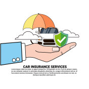 Car Insurance Safety Protection Concept Hand Holding Vehicle Under Umbrella Icon
