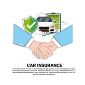 Car Insurance Service Concept Handshake Icon Auto Protection Security Banner