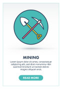 Cryptocurrency Mining Web Banner Illustration with Icon.