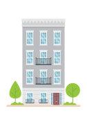 Urban family home classic european building vector illustration