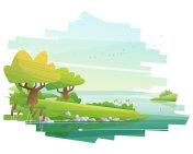 Beautiful landscape background , vector , illustration