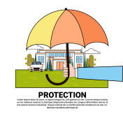 Property Protection Insurance Services Banner With Umbrella Over Real Estate And Car
