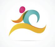 Running marathon colorful people icon and symbol