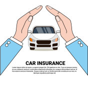 Car Insurance Banner Safety Protection Concept With Hands Protect Vehicle Icon