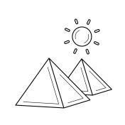 Egyptian pyramid line icon
