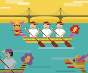 Dragon boat behind the bridge in flat design style