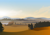 Vector winter morning sunrise landscape with pond and hills