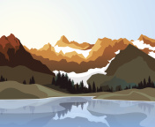 Flat style illustration of landscape with mountains, river and sky