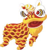 Cartoon Chinese lion dancing