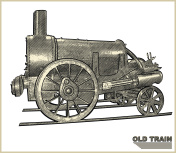 Old steam train on white background.