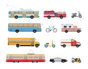 Set of urban transport. City cars, vehicles transport