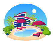 Swimming Pool Big Modern Villa  Flat Design