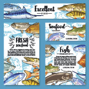 Vector posters for seafood or fish food products