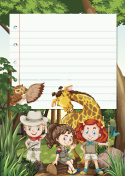 Border template with kids and animals