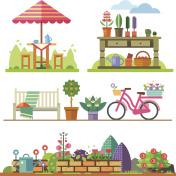 Garden landscapes, summer and spring