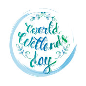 World wetlands day hand lettering.