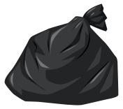 Rubbish bag in black color