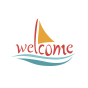 Vector text welcome on board with sea and sailing