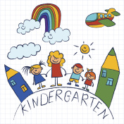 Kindergarten doodle pictures on notepad paper