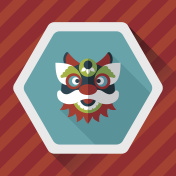Chinese New Year flat icon with long shadow, eps10