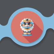 Chinese New Year flat icon with long shadow,eps10