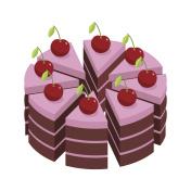 Cherry cake. Pieces of holiday cake. Birthday dessert with cherr