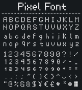 square pixel font, videogame alphabet in retro style