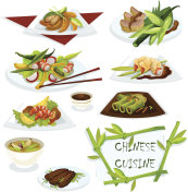 Chinese cuisine dishes for restaurant menu design