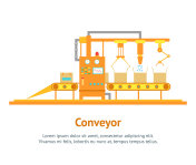 Conveyor Machine Fully Automatic Production Line Card Poster. Vector