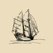 Vector illustration of sailing ship in the sea in ink style. Hand sketched schooner. Marine theme design.
