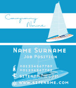 Yacht club business card design with sail boat