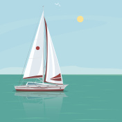 Lonely sailing yacht in the ocean on a sunny day