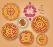 Chinese mid autumn festival background with lantern, tea and cake