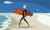 girl go surfer on the beach