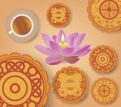 Chinese mid autumn festival with lotus lantern, tea and cake