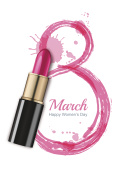 8 March vector greeting card, International Women's Day.