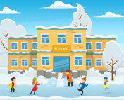 the school building in the snow and children play in the school yard.