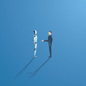 Ai or artificial intelligence vector concept with ai robot handshake with human. Symbol of future cooperation, technology advance, innovation