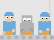AI, robot and human working toghether in the factory