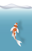 fish.Koi  fish in the blue water vector paper art illustration paper cut.jpg