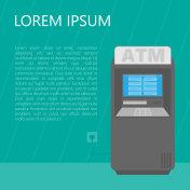 Cash dispense ATM. Vector illustration.
