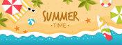 Summer Time on Beach Banner