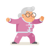 Wushu kungfu taichi fitness healthy activities granny adult old age woman character cartoon flat design vector illustration